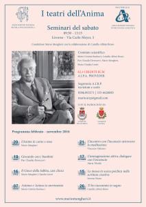 Mario Mengheri - Psicologo Psicoterapeuta Psicoanalista Livorno - Laboratori - I Teatri Dell Anima - Locandina 2016